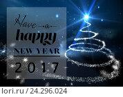 Купить «Happy new year 2017 on digitally generated background», фото № 24296024, снято 25 февраля 2020 г. (c) Wavebreak Media / Фотобанк Лори