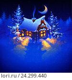 Домик Деда Мороза в лесу в новогоднюю ночь. Стоковая иллюстрация, иллюстратор Александр Павлов / Фотобанк Лори