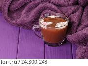 Горячий шоколад и уютный вязаный плед. Стоковое фото, фотограф Дегтярева Виктория / Фотобанк Лори