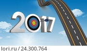 Купить «Darts target as 2017 against composite image 3D of bumpy road in sky», фото № 24300764, снято 22 ноября 2017 г. (c) Wavebreak Media / Фотобанк Лори