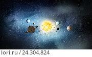 Купить «System of planets . Mixed media», фото № 24304824, снято 14 ноября 2018 г. (c) Sergey Nivens / Фотобанк Лори