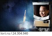 Купить «She wants to become astronaut . Mixed media», фото № 24304940, снято 19 сентября 2018 г. (c) Sergey Nivens / Фотобанк Лори