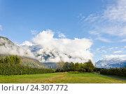 Облака в Альпах. Стоковое фото, фотограф Добыш Александр / Фотобанк Лори