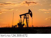 Купить «Нефтяной насос-качалка на закате», фото № 24309672, снято 6 мая 2016 г. (c) Зайцев Алексей / Фотобанк Лори