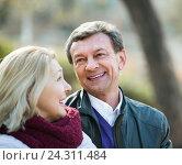 Купить «Happy mature couple outdoors», фото № 24311484, снято 24 сентября 2018 г. (c) Яков Филимонов / Фотобанк Лори