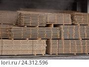 Купить «Доска обрезная в штабелях в сушилке», фото № 24312596, снято 12 декабря 2015 г. (c) Рустам Шигапов / Фотобанк Лори