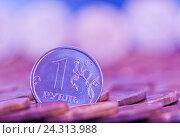 Купить «Монетка в 1 рубль среди других монет, тональная коррекция, розово-синий цвет», фото № 24313988, снято 23 июля 2016 г. (c) Екатерина Овсянникова / Фотобанк Лори