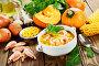 Тыквенный суп с креветками и консервированной кукурузой, фото № 24315648, снято 28 ноября 2016 г. (c) Надежда Мишкова / Фотобанк Лори