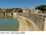 Купить «View from the Castel Sant'Angelo on the Tiber and the St. Peter's Basilica, Vatican, province Roma, Latium, Italy», фото № 24322408, снято 20 июля 2018 г. (c) mauritius images / Фотобанк Лори