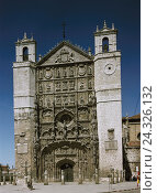 Купить «Spain, Valladolid, church San Pablo, outside facade, frescoes, Europe, Zentralspanien, Castile, Sehenswürdikeit, architectural style, Spanish-in Flemish, architecture, 15 cent., facade, bell towers,», фото № 24326132, снято 21 февраля 2007 г. (c) mauritius images / Фотобанк Лори