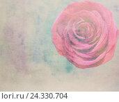 Живописный акварельный цветочный фон с розой. Стоковая иллюстрация, иллюстратор Бережная Татьяна / Фотобанк Лори