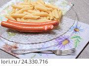 Купить «Сосиски с макаронами», эксклюзивное фото № 24330716, снято 5 декабря 2016 г. (c) Яна Королёва / Фотобанк Лори
