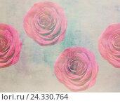Живописный акварельный цветочный фон с розами. Стоковая иллюстрация, иллюстратор Бережная Татьяна / Фотобанк Лори