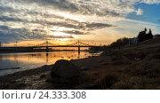 Утки и чайки летают на реке в городе на закате, Тверь, Россия (2016 год). Стоковое видео, видеограф Елена Абдураманова / Фотобанк Лори