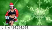 Купить «Composite image of portrait of confident athlete in christmas costume while holding gift», фото № 24334584, снято 20 марта 2019 г. (c) Wavebreak Media / Фотобанк Лори