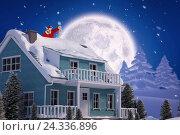 Купить «Composite image of santa claus looking at christmas lantern», фото № 24336896, снято 19 октября 2018 г. (c) Wavebreak Media / Фотобанк Лори