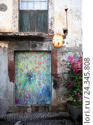 Купить «Island Madeira, Funchal, coloured, painted doors in the Old Town, 'The art open doors ', Street Santa Maria», фото № 24345808, снято 24 марта 2012 г. (c) mauritius images / Фотобанк Лори