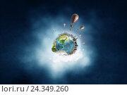 Купить «Abstract collage. Floating Island with baloons. . Mixed media . Mixed media . Mixed media», фото № 24349260, снято 4 октября 2014 г. (c) Sergey Nivens / Фотобанк Лори