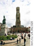 Купить «Belgium, West Flanders, Brugge, Grote market, belfry, civic centre, covered market, cloth hall», фото № 24382020, снято 19 марта 2019 г. (c) mauritius images / Фотобанк Лори
