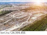 Купить «Open quarry for stone extraction. Quarry. Panorama aerial view. The problem of environmental pollution.», фото № 24394456, снято 6 июня 2016 г. (c) Евгений Ткачёв / Фотобанк Лори