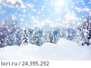 Купить «Падающий снег в зимнем лесу солнечным днем», фото № 24395292, снято 5 января 2016 г. (c) Евгений Ткачёв / Фотобанк Лори