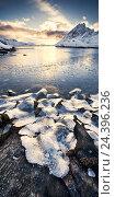 Купить «Norway, Lofoten, coast, bay,», фото № 24396236, снято 23 марта 2019 г. (c) mauritius images / Фотобанк Лори