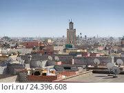 Купить «Africa, Morocco, Marrakech, terrace, view of Medina,», фото № 24396608, снято 22 мая 2019 г. (c) mauritius images / Фотобанк Лори