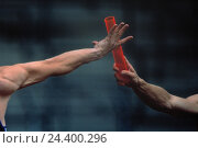 Купить «Athletics, relay race, wand discharge, detail, running, discharge, series, two men, know, colourfully, arms, athletic, muscles, well-trained, run, athlete, team, teamwork», фото № 24400296, снято 31 декабря 1899 г. (c) mauritius images / Фотобанк Лори