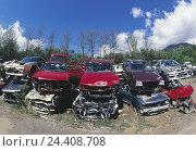 Купить «Scrap yard, scrap vehicle, autoscrap yard, junk yard, cars, passenger cars, vehicles, wrecks, scrap metal, scrapping, recycling, discards, old, disposal, scrap metal trade, junker cars, autoscrapping», фото № 24408708, снято 4 сентября 2003 г. (c) mauritius images / Фотобанк Лори