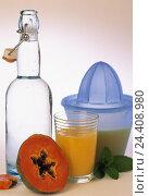Купить «Bottle, water, fruit juice, juicer, papaya, halves, drinks, alcohol-free, water Bottle, glass, juice, tropical fruit, Zitruspresse, nutrition, healthy», фото № 24408980, снято 25 апреля 2000 г. (c) mauritius images / Фотобанк Лори