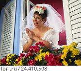 Купить «Window, floral decoration, bride, gesture, joy Heavy Weights, studio, woman, wedding dress, veil, white, wedding, marry, look, view, look out hold, search...», фото № 24410508, снято 26 сентября 2000 г. (c) mauritius images / Фотобанк Лори