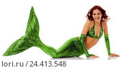Купить «Mermaid, lie, arms, propped arms, concepts, woman, young, hairs, red, lining, costume, tail fin, green, water, mermaid, water mind, fairy tale shape, rest on, there, smile, studio, cut outs,», фото № 24413548, снято 15 февраля 2006 г. (c) mauritius images / Фотобанк Лори