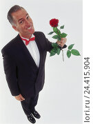 Купить «Man, middle old person, dinner jacket, happy, rose, professions, studio, cut out, Knight of the Rose, gentleman, from above,», фото № 24415904, снято 27 сентября 2000 г. (c) mauritius images / Фотобанк Лори