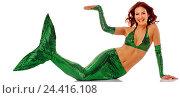 Купить «Mermaid, laugh, gesture, concepts, woman, young, hairs, red, lining, costume, tail fin, green, water, mermaid, water mind, fairy tale shape, lie, support...», фото № 24416108, снято 15 февраля 2006 г. (c) mauritius images / Фотобанк Лори