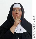 Купить «Benedictine, nun, habit, gesture, silence, quiet, half portrait, professions, studio, cut out, woman, habit, rest, quietly, secretly, secret, quietly,», фото № 24416132, снято 27 сентября 2000 г. (c) mauritius images / Фотобанк Лори