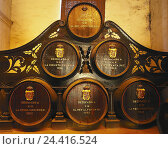 "Купить «Spain, Andalusia, Jerez de la Frontera, winery, wooden barrels inside, wine producer's, economy, barrels, wooden barrels, sherry, sherry barrels, wine casks, ""Tio to pep"",», фото № 24416524, снято 4 февраля 2002 г. (c) mauritius images / Фотобанк Лори"
