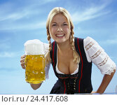 Купить «Woman, service, happy, beer mug, half portrait, young, blond, plaits, beer glass, jug, glass, beer, carry, serve, national costume, dirndls, joy, drink, drinks, alcoholic, alcohol, gesture», фото № 24417608, снято 21 марта 2002 г. (c) mauritius images / Фотобанк Лори
