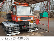 Купить «Red service all-terrain vehicle on tracks», фото № 24430556, снято 12 апреля 2014 г. (c) EugeneSergeev / Фотобанк Лори