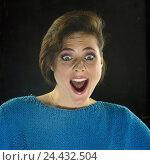 Купить «Woman, facial play, enthusiasm, portrait, inside, young, enthusiastically, happy, amazement, astonishment, is surprised, joy, please, fright, fear, horror, panic, shout, shout, studio, cut out», фото № 24432504, снято 7 сентября 2001 г. (c) mauritius images / Фотобанк Лори