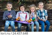 Купить «Urban portrait of kids», фото № 24437648, снято 22 сентября 2018 г. (c) Яков Филимонов / Фотобанк Лори