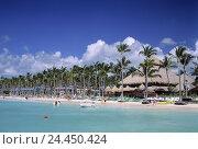 Купить «The Dominican Republic, Punta Cana, Bavaro, sea, palm beach, Atlantic, tourist, beach, palms, vacation, holiday paradise», фото № 24450424, снято 21 июня 2000 г. (c) mauritius images / Фотобанк Лори