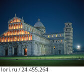 Купить «Italy, Tuscany, Pisa, oblique tower, cathedral Santa Maria Assunta, lighting, evening, Europe, Southern, Europe, town, Campo dei Miracoli, Domplatze, Piazza...», фото № 24455264, снято 25 октября 2005 г. (c) mauritius images / Фотобанк Лори