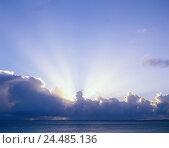 Купить «Sea, beautyful clouds, sunrays, waters, water, clouds, nature, natural phenomenon, weather, weather, meteorology, sunshine, the sun, sundown», фото № 24485136, снято 24 октября 2005 г. (c) mauritius images / Фотобанк Лори