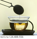 Купить «Teeglas, Teesieb, drip,    Mats, cup, glass, glass cup, teacup, tea, strainer, takes out, beverage, infusion beverage, hot beverage, silhouette, quietly life, fact reception,», фото № 24488556, снято 26 апреля 2018 г. (c) mauritius images / Фотобанк Лори