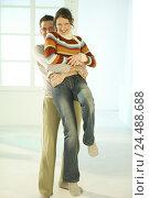 Купить «Couple, young, embrace, happy, blur, 20-30 years, partnership, respect, friendship, touch, tenderness, affection, allowance, love, happy, joy, fun, amusement...», фото № 24488688, снято 1 марта 2004 г. (c) mauritius images / Фотобанк Лори