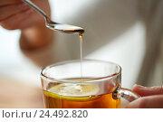 Купить «close up of woman adding honey to tea with lemon», фото № 24492820, снято 13 октября 2016 г. (c) Syda Productions / Фотобанк Лори