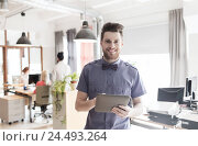 Купить «happy creative male office worker with tablet pc», фото № 24493264, снято 29 марта 2015 г. (c) Syda Productions / Фотобанк Лори