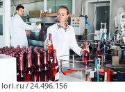 Купить «Woman working on wine production on manufactory», фото № 24496156, снято 21 сентября 2016 г. (c) Яков Филимонов / Фотобанк Лори