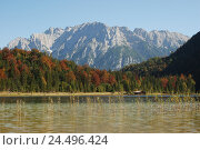 Купить «Germany, Bavaria, Ferchensee, mountain landscape, Karwendelgebirge, autumn, Upper Bavaria, Werdenfels, scenery, nature, Idyll, mountains, alps, lake, mountain...», фото № 24496424, снято 29 февраля 2008 г. (c) mauritius images / Фотобанк Лори