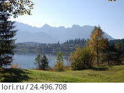 Купить «Germany, Bavaria, Krün, Barmsee, mountain landscape, Karwendelgebirge, autumn, Upper Bavaria, Werdenfels, scenery, nature, Idyll, lake, shore, lakeside...», фото № 24496708, снято 29 февраля 2008 г. (c) mauritius images / Фотобанк Лори